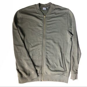 ASOS Jersey Bomber Jacket in Olive w/ Gold Zipper